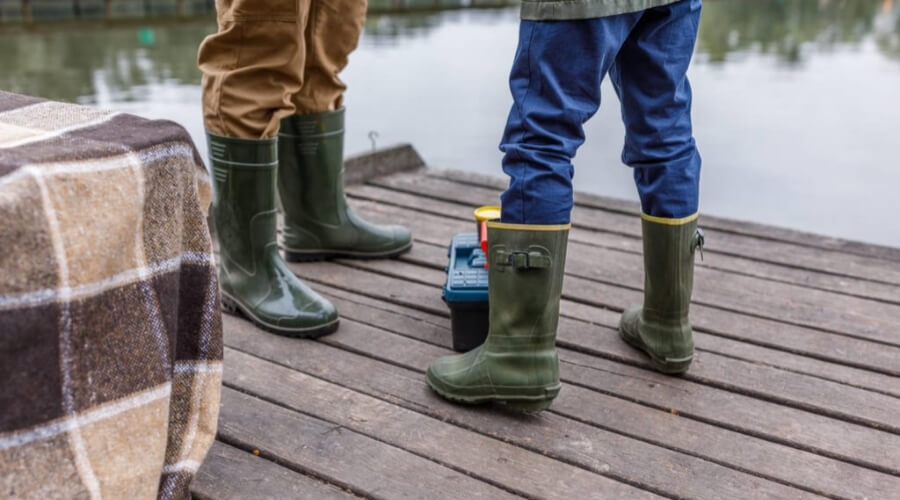 Rubber Boots While Fishing